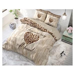 Bavlnené návliečky so srdcom a leopardím vzorom HOME IS LOVE