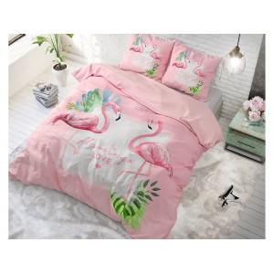 Ružové posteľné obliečky s plameniakmi FLAMINGO LOVE
