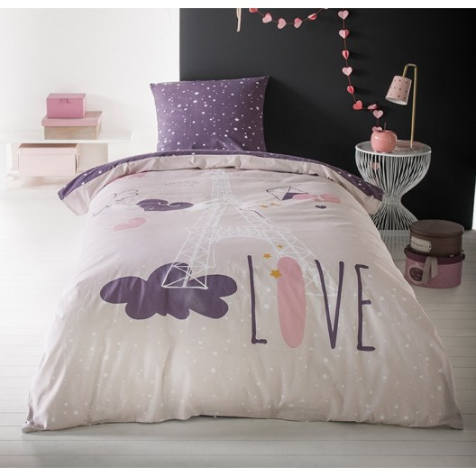 Obliečky na posteľ s Eiffelovou vežou CUTE LOVE