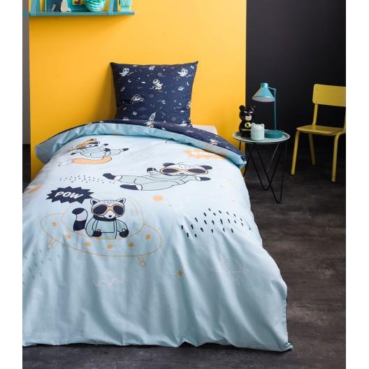 Modré posteľné obliečky pre deti RACOON