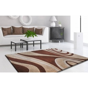 Kusové koberce do obývačky s hnedými vzormi