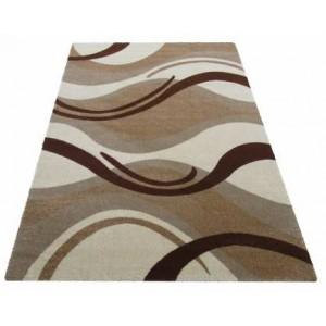 Krémový koberec na chodbu s hnedými vzormi