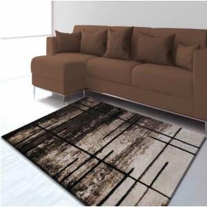 Sivý koberec s abstraktným hnedým vzorom