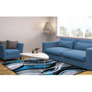 Koberce do obývačky sivo tyrkysovej farby s moderným vzorom