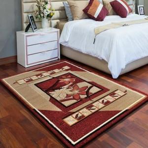 Kusový koberec do obývačky červenej farby