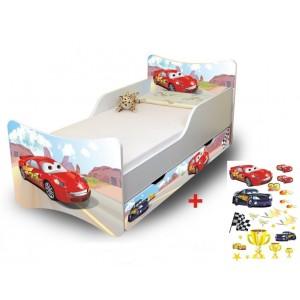 Detská posteľ biela s motívom rozprávky Autá
