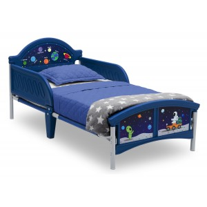 Tmavomodré chlapčenské postele s motívom vesmíru