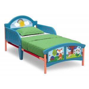 Modrá detská posteľ s motívom lesných zvieratiek