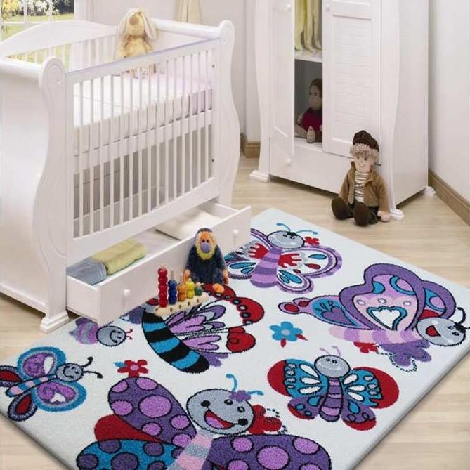 DomTextilu Detský koberec s motýlikmi 13059-157455 200 x 290 cm krémová