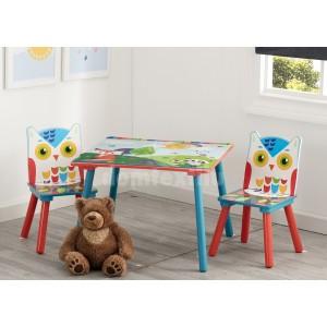 Detský stolík so stoličkami s motívom lesných zvieratiek