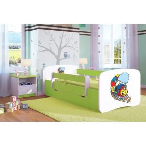 Zelená detská posteľ s vláčikom