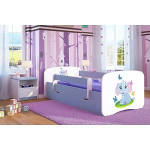 Modrá detská posteľ so sloníkom
