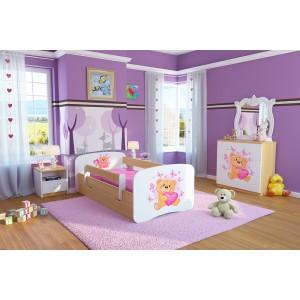 Biela detská posteľ s bukovým odtieňom bočníc