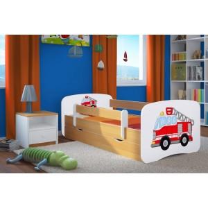 Postele pre deti s odtieňom bukových bočníc s motívom hasičského auta