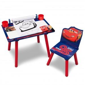 Detský stôl a stolička na kreslenie Autá