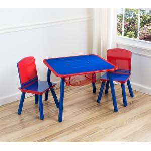 Modro červený detský drevený stôl so stoličkami
