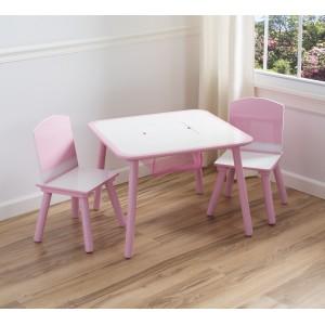 Ružovo biely stolček so stoličkami pre dievčatá