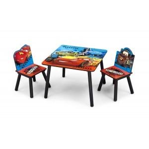 Drevený stolík so stoličkami do detskej izby s rozprávkou Autá