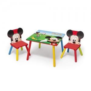 Mickey Mouse maľovaný drevený stôl so stoličkami pre deti