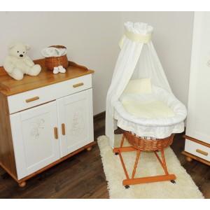 Postieľka pre bábätko s bielo krémovou sadou