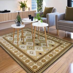 Dizajnový kusový koberec zlatej farby