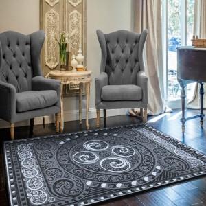 Orientálny strieborný koberec do obývačky