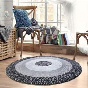 Moderný okrúhly koberec v čiernej farbe