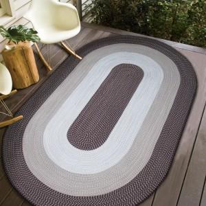Dizajnový hnedý koberec oválny