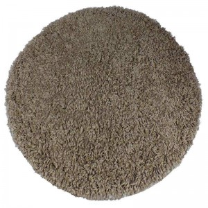 Okrúhly shaggy koberec vo farbe cappuccino
