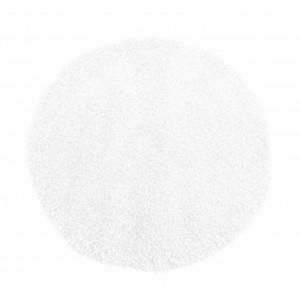 Biely koberec shaggy okrúhly