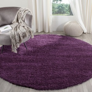 Shaggy fialový koberec okrúhly