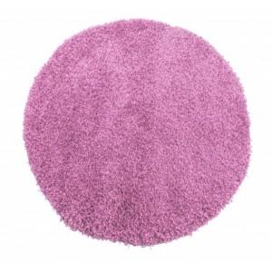 Svetlo fialový okrúhly shaggy koberec