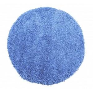 Modrý okrúhly koberec shaggy
