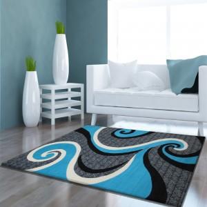 Kusový tyrkysovo sivý koberec so vzorom