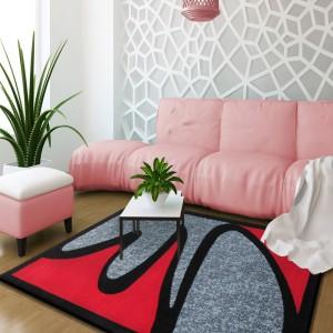 Štýlový koberec sivo červený