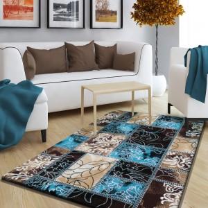 Vzorovaný koberec hnedo tyrkysový do spálne
