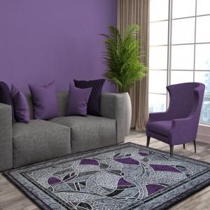 Koberec do obývačky sivo fialový