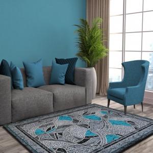Luxusný koberec sivo tyrkysový s ornamentom