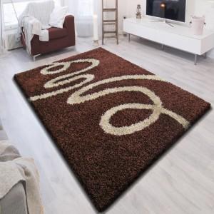 Hnedý koberec shaggy s motívom krémovej stuhy