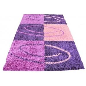 Fialový koberec SHAGGY s motívom obdĺžníka
