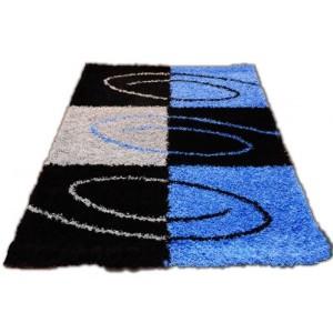 Čierno modrý koberec shaggy