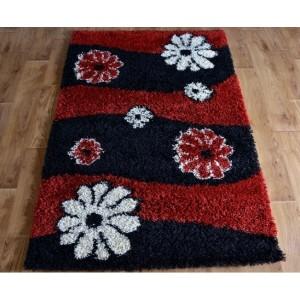 Červené koberce SHAGGY s kvetmi