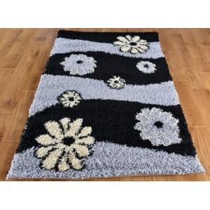 Shaggy koberec sivý s kvetmi