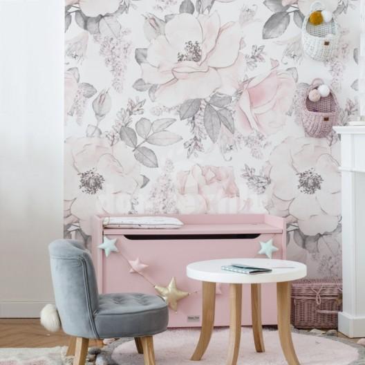 Tapety do detskej izby s motívom ružových kvetov