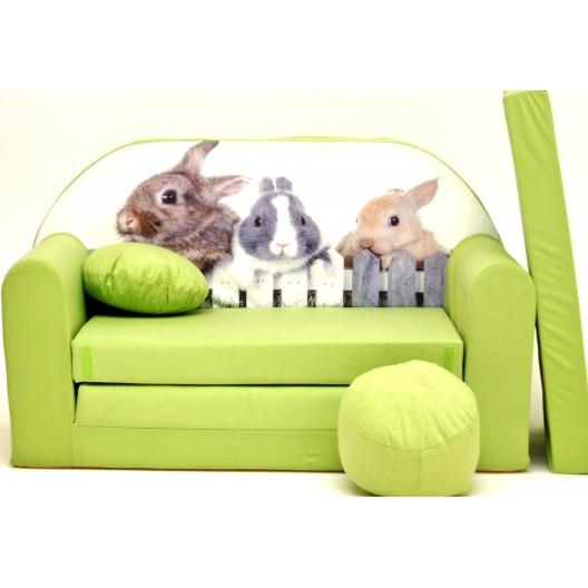 Rozkladacia pohovka pre deti so zajačikmi