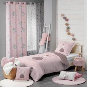 Dievčenské ružové závesy do detskej izby s jednorožcami