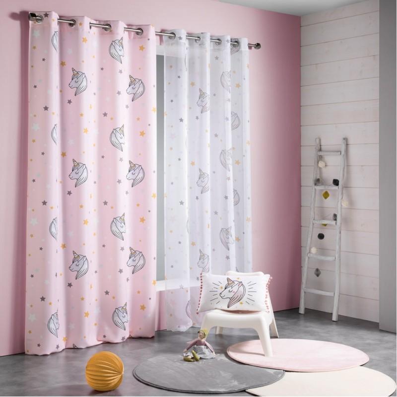 2908f573b1b6b Dievčenské ružové závesy do detskej izby s jednorožcami