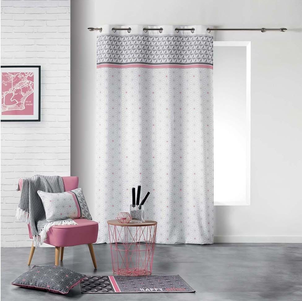 Sivo ružové dekoračné závesy do obývacej izby 140 x 260 cm
