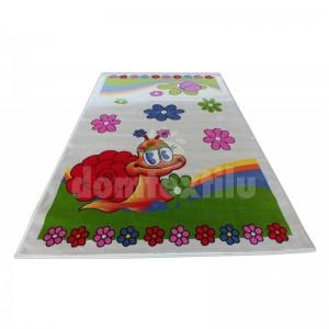 Krémový detský koberec so slimákom