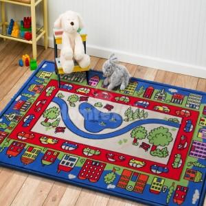 Mesto detský koberec v modrej farbe